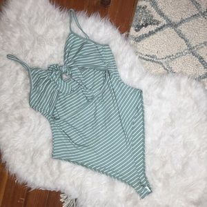 Stripe Cut Out Bow Tie Front Bodysuit